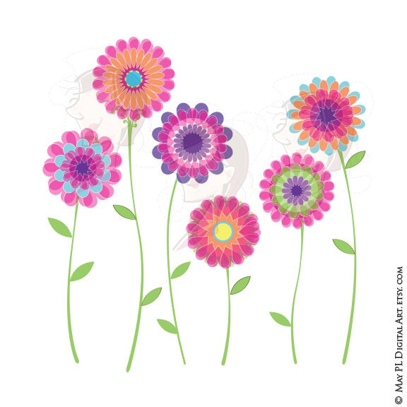 pink flower clipart spring flowers floral vector clip art rh etsy com free clipart pictures of spring flowers Blooming Spring Flowers