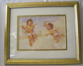 Beautiful ANGELIC  print of playful angels. One on the harp , one on the tambourine