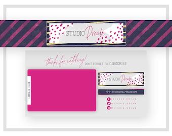 Youtube Banner Design | Endslate Design | Endcard Design | Fashion Vlog Cover | Beauty Vlog Cover | Pink Gold Channel Art | Navy Pink Cover