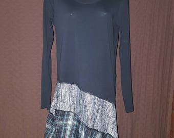 Teal/Gray/Black Patchwork Tunic