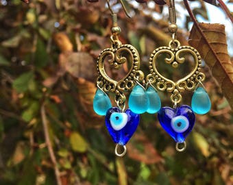 Boho Earrings, Middle Eastern Jewelry, Gold Earrings, Hamsa Earrings, Evil Eye Earrings, Spiritual Gift, Gifts for Her, Yoga Gift, Boho Gift
