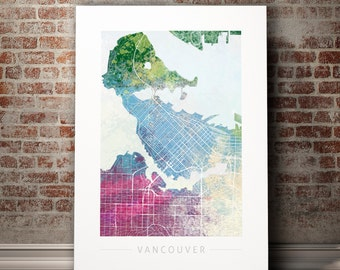 Vancouver map etsy vancouver map city street map of vancouver canada art print watercolor illustration wall art home decor gift nature series print gumiabroncs Image collections