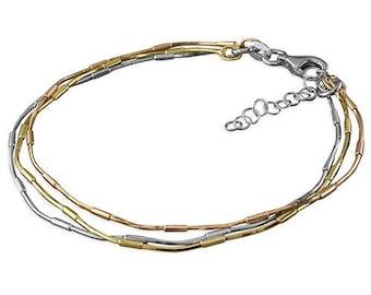 9cm 3 Tone Triple Strand Sterling Silver Bracelet