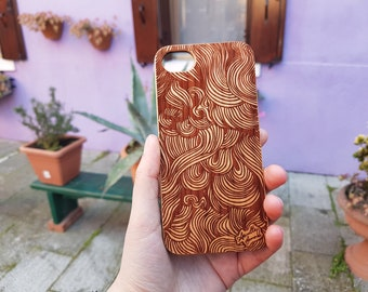 Wooden engraved Waves phone case for iPhone 6, 6S, 7 8 & X. Drop and scratch proof, providing premium protection for your phone.