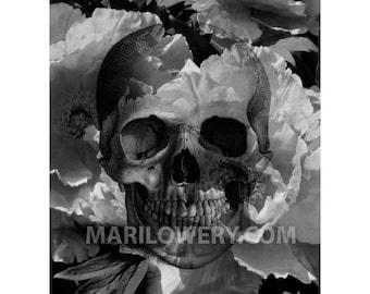 Creepy Skeleton Art Black and White Skull and Flowers Mixed Media Collage Halloween Decor Dark Wall Art 8x10 Print, frighten