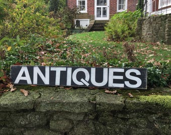 Rustic Antiques sign, farmhouse style sign,