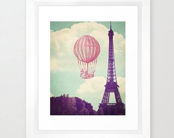 Paris Balloon print - Paris / Eiffel Tower / Nursery