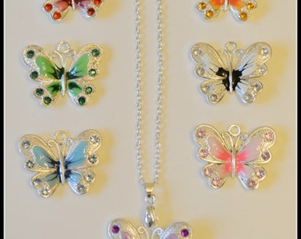 Sale Butterfly necklace, Ladies necklace, handmade butterfly necklace, charm necklace, insect necklace, butterfly charm