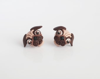 Pug - tiny, cute earrings