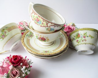 Vintage Teacups Mismatched with Saucers Set of Four - Weddings Bridal Tea Parties