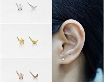 925 Sterling Silver Earrings, Tiny Star Moon Earrings, Gold Plated, Rose Gold Plated Earrings, Stud Earrings, Size 3 mm (Code : KE49Y)