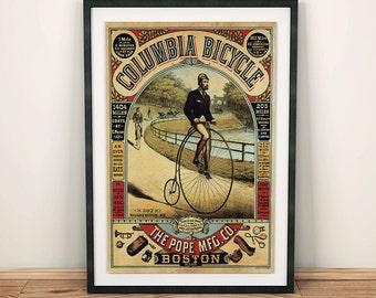 Columbia Bicycle by the Pope Mfg Co. Boston Vintage Bike Poster