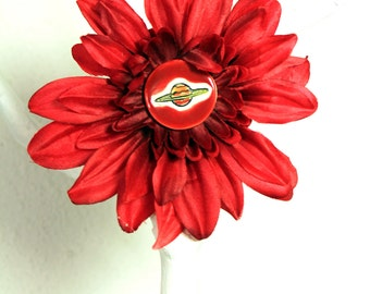 Ringed Planet Flower Hair Clip in Red