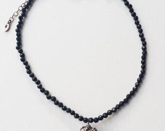 Vintage Signed Barse Genuine Faceted Onyx & Sterling Silver Necklace, Vintage Onyx Necklace, Barse Jewelry
