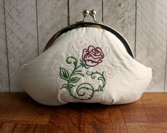 Clearance. White clutch with flower, wedding bag, white silk clutch purse wristlet with embroidered red rose, personalized clutch