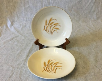 Vintage Homer Laughlin Golden Wheat Coupe Soup Bowls with 22k Gold Trim, Set of 2, Mid Century Dishes