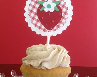Strawberry Cupcake Toppers - Set of 12