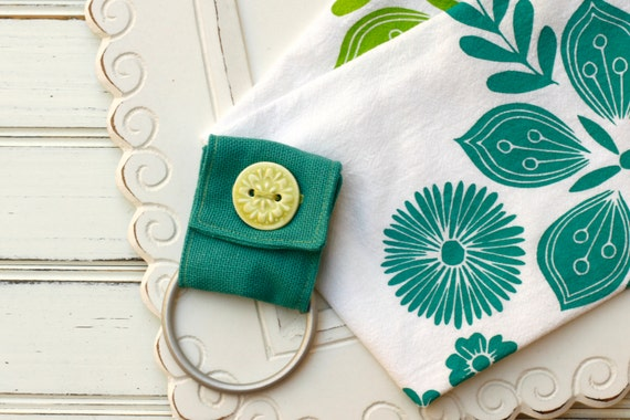 kitchen towel holder in teal and green