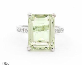 Green Amethyst Ring, Amethyst Ring, Custom Engagement Ring, Rectangular Amethyst stone, Amethyst and Diamond Ring | LDR02098