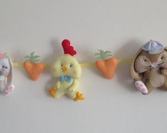 Felt Easter Banner-Easter Garland-Bunny Garland- Handmade Felt Decor- Felt Chick-Easter Decor-Spring Garland- Unique Easter Gift