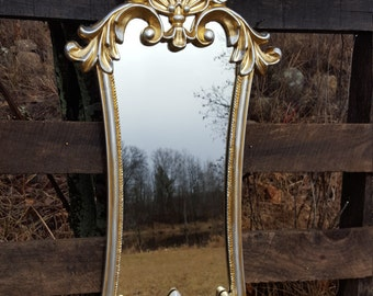 Large Silver & Gold Baroque Mirror/ Shabby Chic Mirror/ Hollywood Regency Mirror/ Paris Apartment Mirror Large Ornate Wall Hanging Mirror