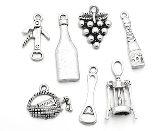 7 pcs. Silver Tone Wine Charms Pendants with Jump Rings- 15mm - 30mm - Variety - Assortment - Mix - Set B