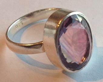Beautiful Sterling Silver Purple Stone Ring - Silver Jewelry - Size 7 1/2