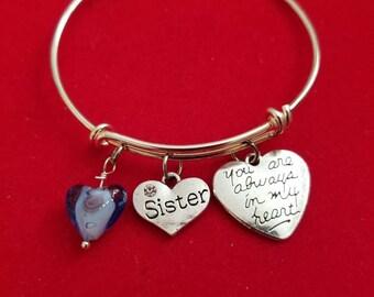 Silver Glass Heart Sister Charm Bracelet