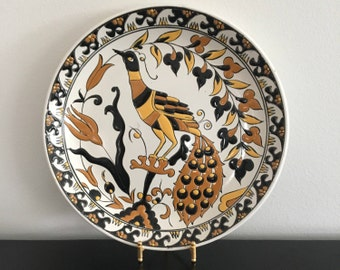 Vintage, Keramikos, hand made, Greek, plate, hand painted in Rhodes. decorative plate, peacock design. folk art. home decor, country kitchen