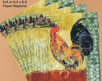 PN084 Paper Napkins by BlueInk Studios ~ 5x5 or 6.5 x 6.5 ~ Italian Tuscan Rooster ~ Set of 4