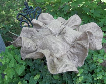Ruffled Burlap Ring Pillow Rustic Ring Bearer Pillow Wedding Decor Ceremony Handmade Rustic Burlap Ring Pillow Bedroom Pillow French Country