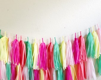 2 Piece Ready to Ship Photo Tissue Paper Banner Tassel Backdrop. FULLY ASSEMBLED | Llama Party, coral, hot pink, theme, birthday banner| Uni