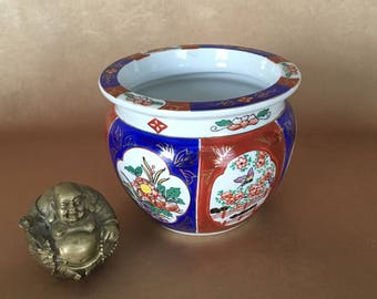 Asian Planter, Chinoiserie Fish Bowl Style, Blue Cinnabar Gold, Orchid Pot, Indoor Planter, Oriental Home Decor, English Garden, Gold Detail