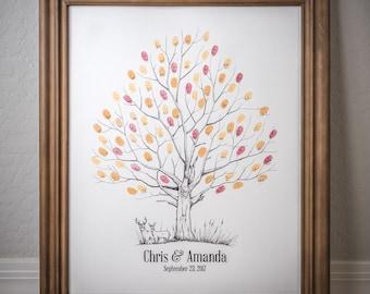 Fingerprint Tree custom wedding guestbook - Original thumbprint guest book alternative (Large Size Fall Tree) includes 3 ink pads!!