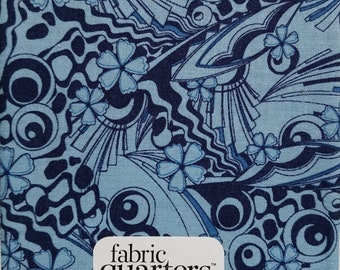 "Fabric Quarters Cotton Fabric 18""- Blue Geo"