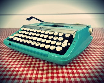 Vintage Aqua Smith-Corona Corsair Deluxe Portable Typewriter, Refurbished and With new Ribbon