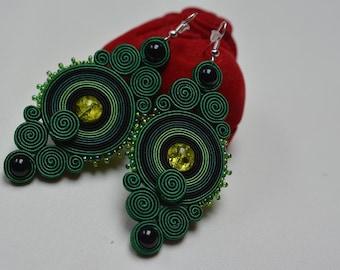 Green- big soutache earrings - Gift for her