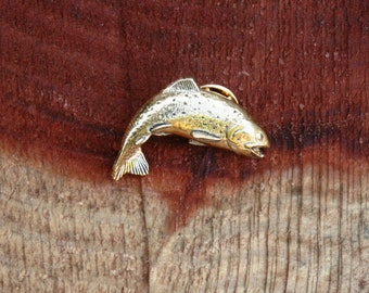 Rainbow  Trout  fish Gold Plated Pewter Pin Lapel Badge Fly Fishing Gift