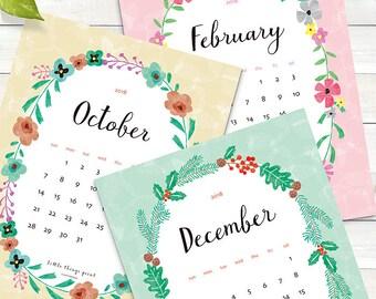 2018 Printable Calendar - Flowers - Letter / A4