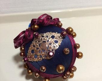 Handmade, Victorian, silk, Christmas ornaments. Vintage, silk, beaded, pearl ornaments. Tree trimming Christmas ornaments. Holiday ornaments