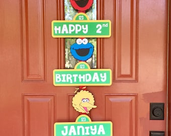 Sesame Street Birthday Sign- Sesame Street Birthday Party Sign-Elmo Birthday Decor-Sesame Street Birthday Sign Personalized