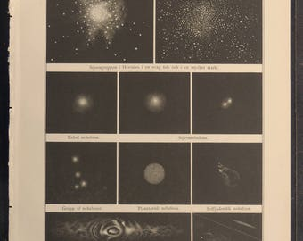 1888.Astronomy.Antique print.STARS and NEBULAE and their forms,8.6x12.3 ins. or 22x31,5 cm. Chromolithograph.Antique astronomy.