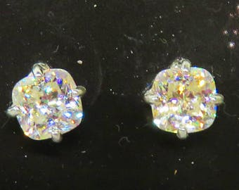 Strontium Titanate Earrings - Highly Refractive Strontium Titanate Post Earrings - Beautiful 6mm Cushion Cut Strontium Titanate Earrings