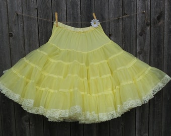 "Vintage YELLOW PETTICOAT, Square Dance Slip, Ruffles and Lace Slip, Photo Prop Skirt, Cowgirl Western Ruffle Slip, Size Medium 24""- 28"""