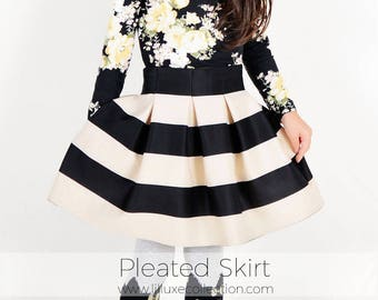 Girls pleated skirt quick easy pdf sewing pattern