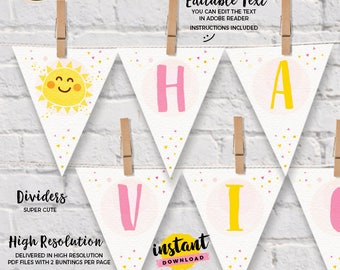 INSTANT DOWNLOAD - EDITABLE You are my Sunshine Wall Banner You are my Sunshine bunting Party decorations You are my Sunshine pennant banner