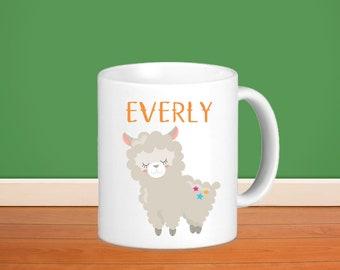 Kids Personalized Poly Mug - Llama Party with Name, Child Personalized Custom Poly Mug Gift