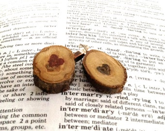 Chestnut Wood Slice Initial Pendant - Small