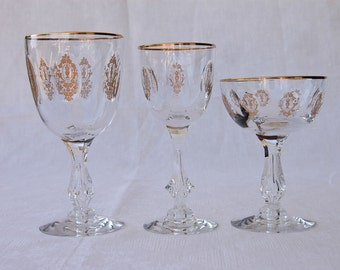 Tiffin Crystal stem glasses Palais Versailles set of 3 pieces