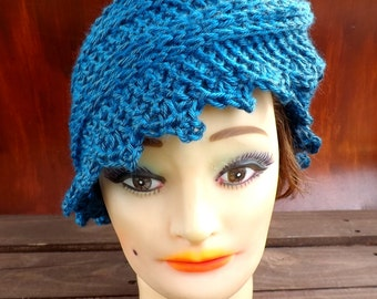 Headscarf Wrap, Crochet Ear Warmer, Winter Headband, Winter Head Wrap for Women, Ocean Blue Scarf, Lauren Crochet Scarf, Infinity Scarf